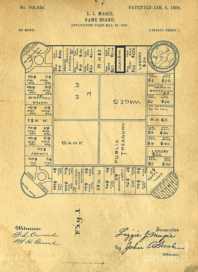 Landlord Digital Art - Early Version Of Monopoly Board Game Patent by Edward Fielding