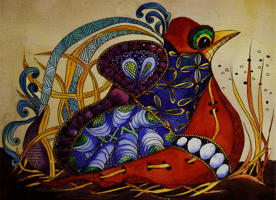 Zentangle Painting - Early Worm Gets the Bird by Mary Beglau Wykes