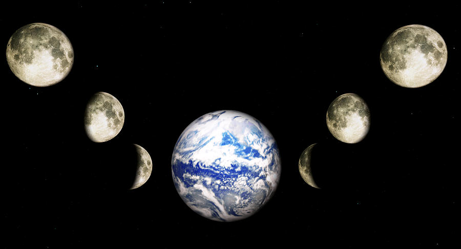 Earth Digital Art - Earth And Phases Of The Moon by Bob Orsillo