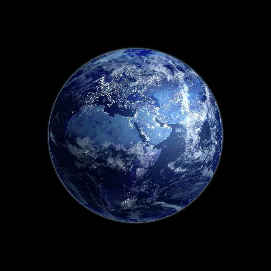 Earth At Night, Artwork Digital Art by Science Photo Library - Andrzej Wojcicki