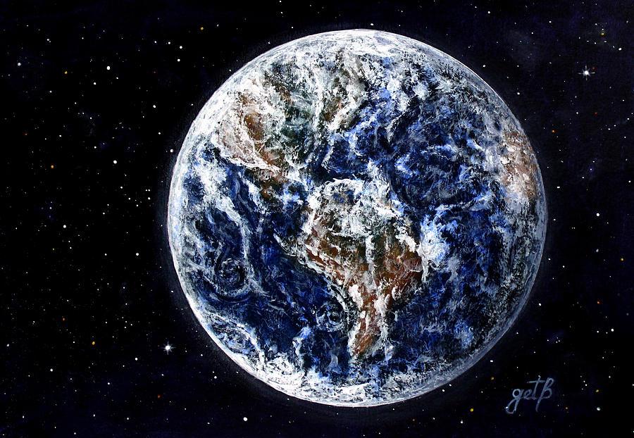 Earth Painting - Earth Beauty Original Acrylic Painting by Georgeta Blanaru