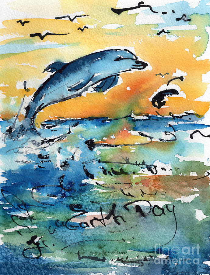 Earth Day Dolphin Watercolor By Ginette Painting By Ginette Callaway