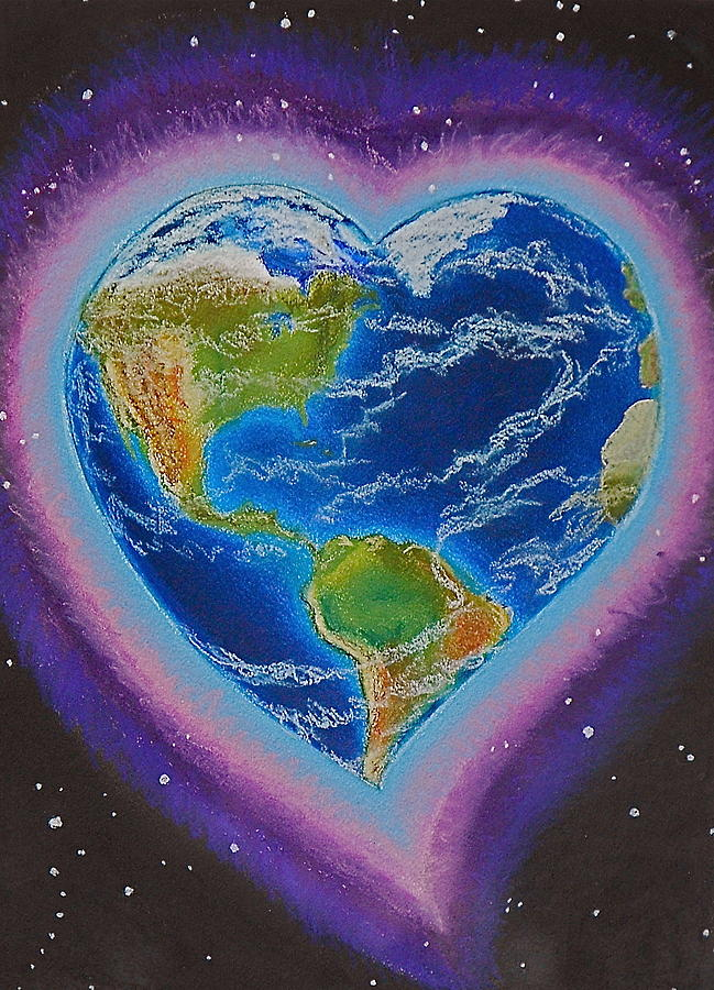 Earth Mixed Media - Earth Equals Heart by R Neville Johnston