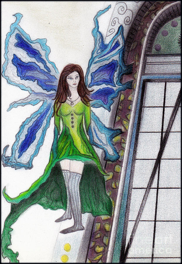 Fantasy Drawing - Earth Fairy by Angie Staft