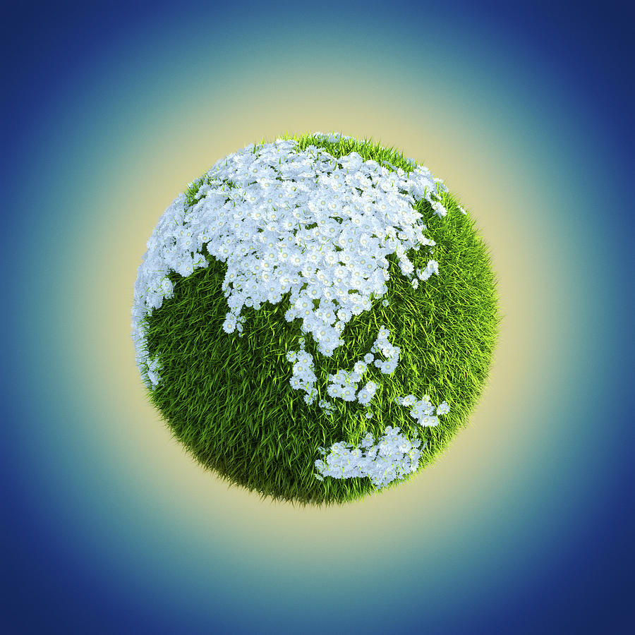 Earth Globe Made Of Grass And Flowers Digital Art by Maciej Frolow