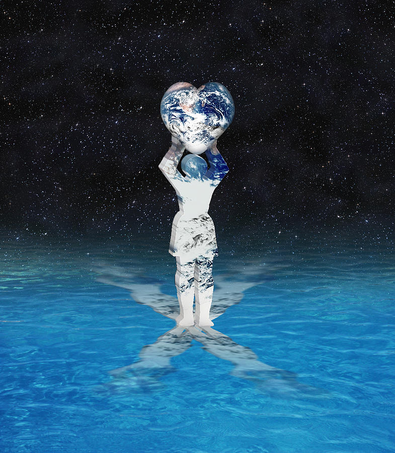 Surreal Digital Art - Earth Heart Holder by Gravityx9 Designs