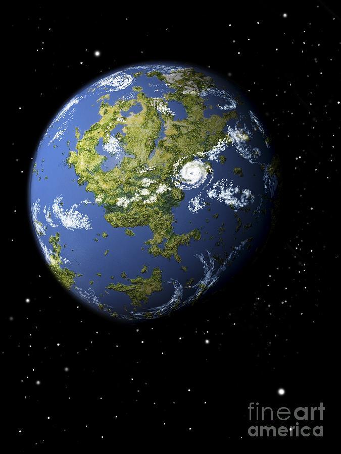 Earth-like Exoplanet, Artwork Photograph by David Angus