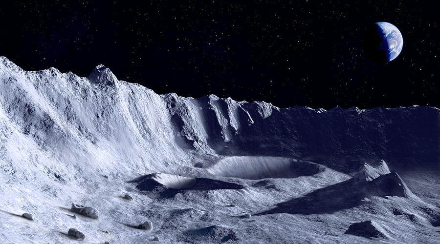 Moon Photograph - Earth Over Moon by Mark Garlick/science Photo Library