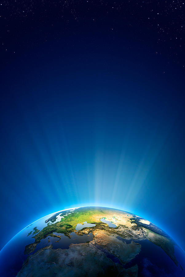 Earth Photograph - Earth Radiant Light Series - Europe by Johan Swanepoel