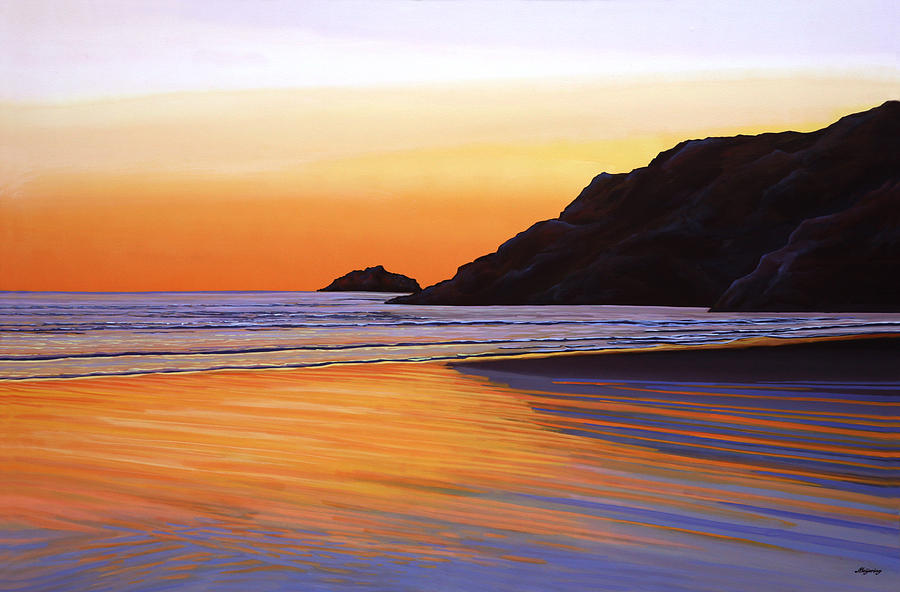 Sunset Painting - Earth Sunrise Sea by Paul Meijering