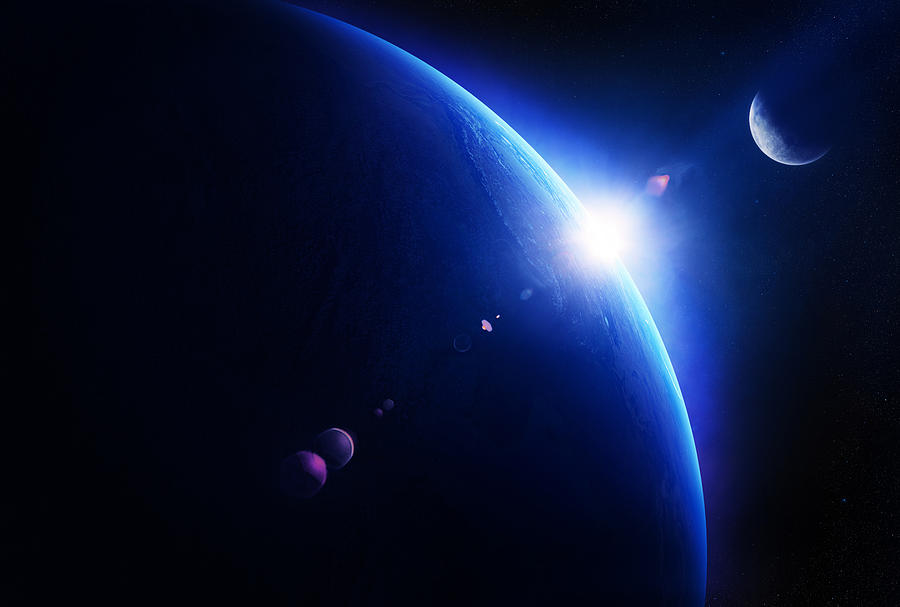 Earth Sunrise With Moon In Space Photograph