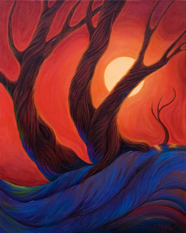 Trees Painting - Earth  Wind  Fire by Sandi Whetzel