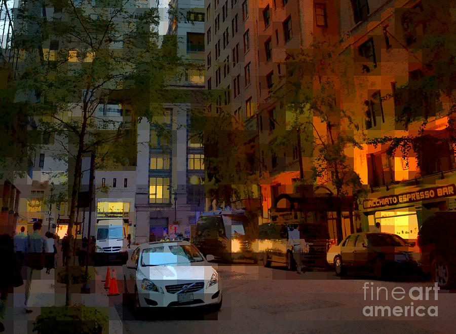 New York Photograph - East 44th Street - Rhapsody In Blue And Orange - Close View by Miriam Danar