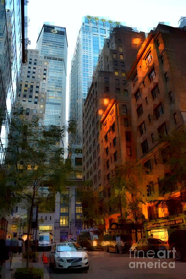New York Photograph - East 44th Street - Rhapsody In Blue And Orange by Miriam Danar
