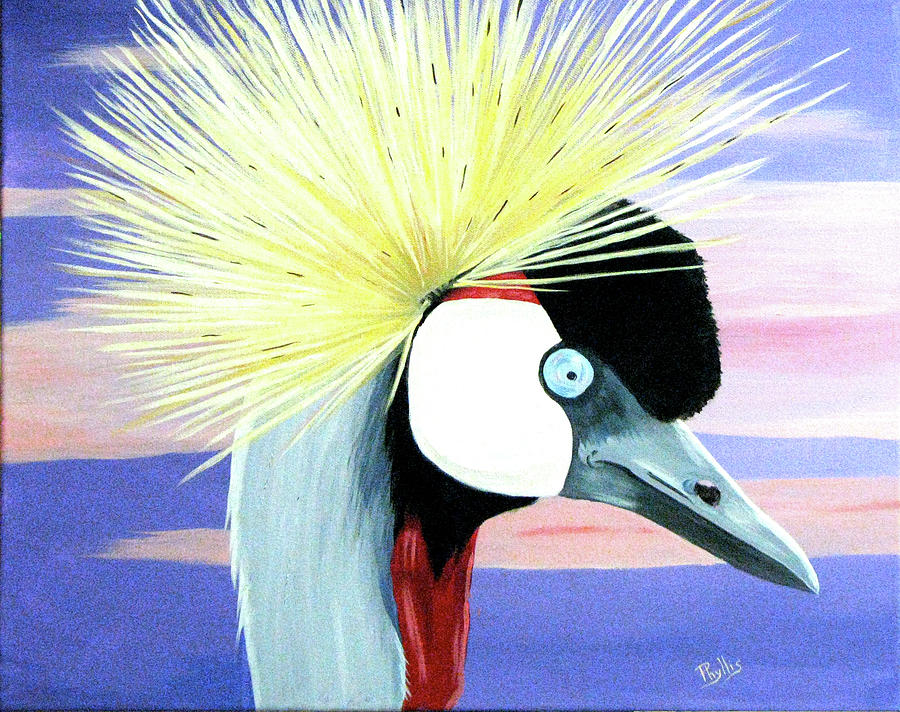 East African Crowned Crane Painting by Phyllis Kaltenbach