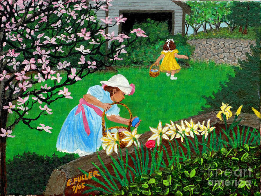 Easter Painting - Easter At Grandmas by Edward Fuller