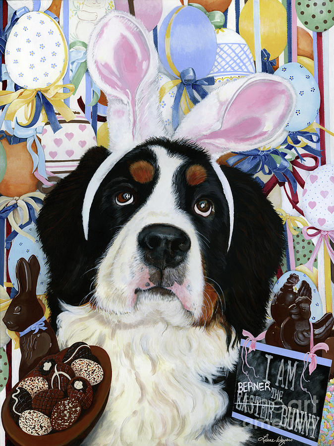 Bernese Mountain Dog Painting - Easter Berner Bunny Duties by Liane Weyers