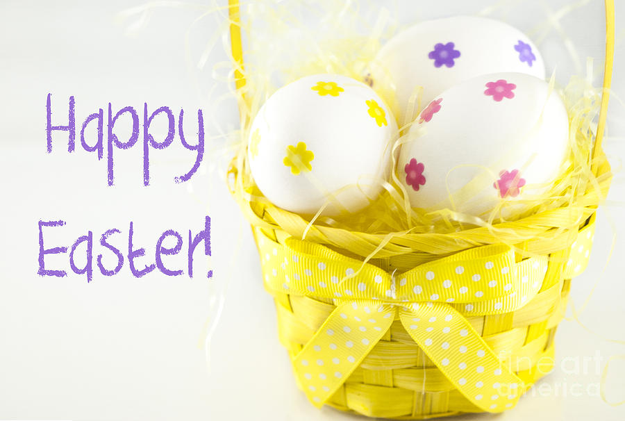 Basket Photograph - Easter Eggs In Basket by Juli Scalzi