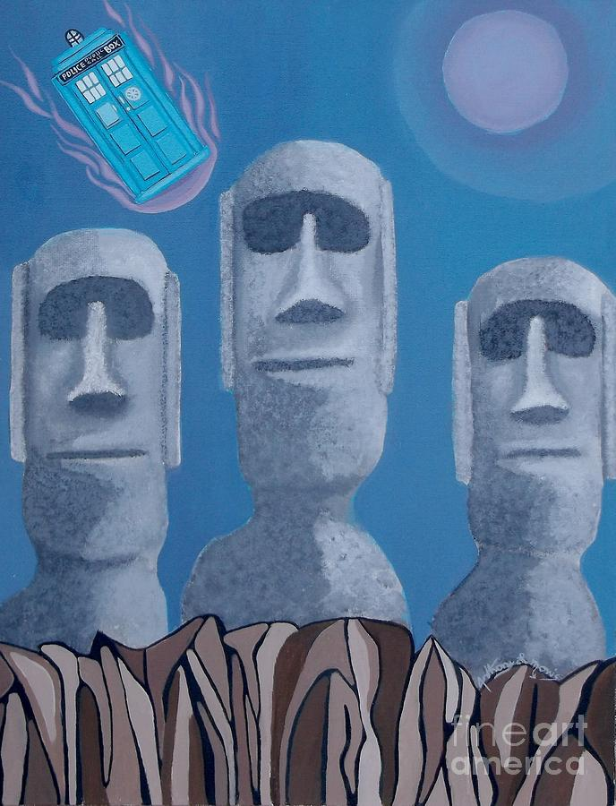 Dr Who Painting - Easter Island Revisited by Anthony Morris