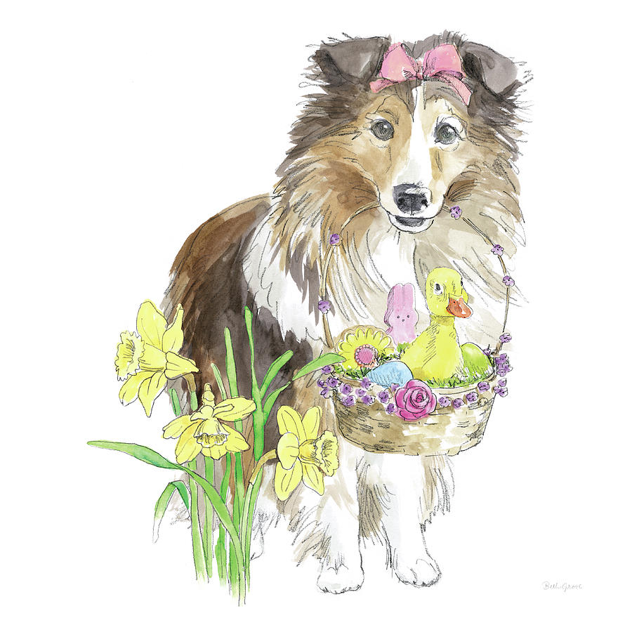 Animals Painting - Easter Pups II by Beth Grove