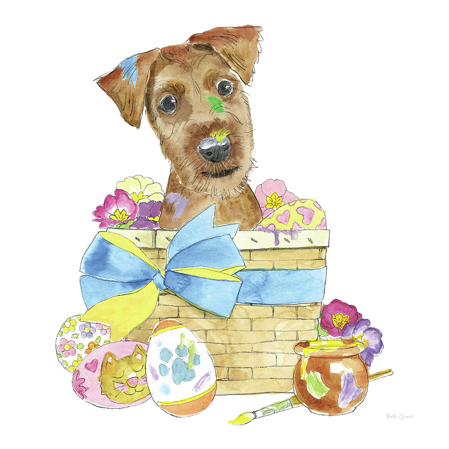 Animals Painting - Easter Pups IIi by Beth Grove