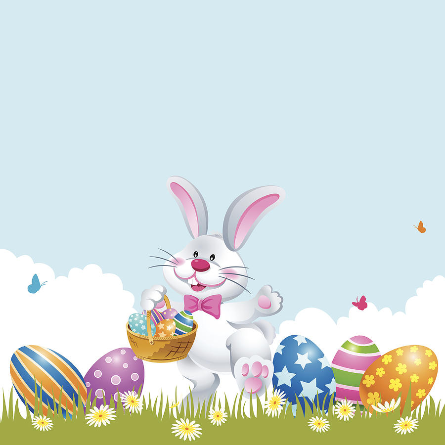 Easter Rabbit Palying Easter Egg Hunt Drawing by Exxorian