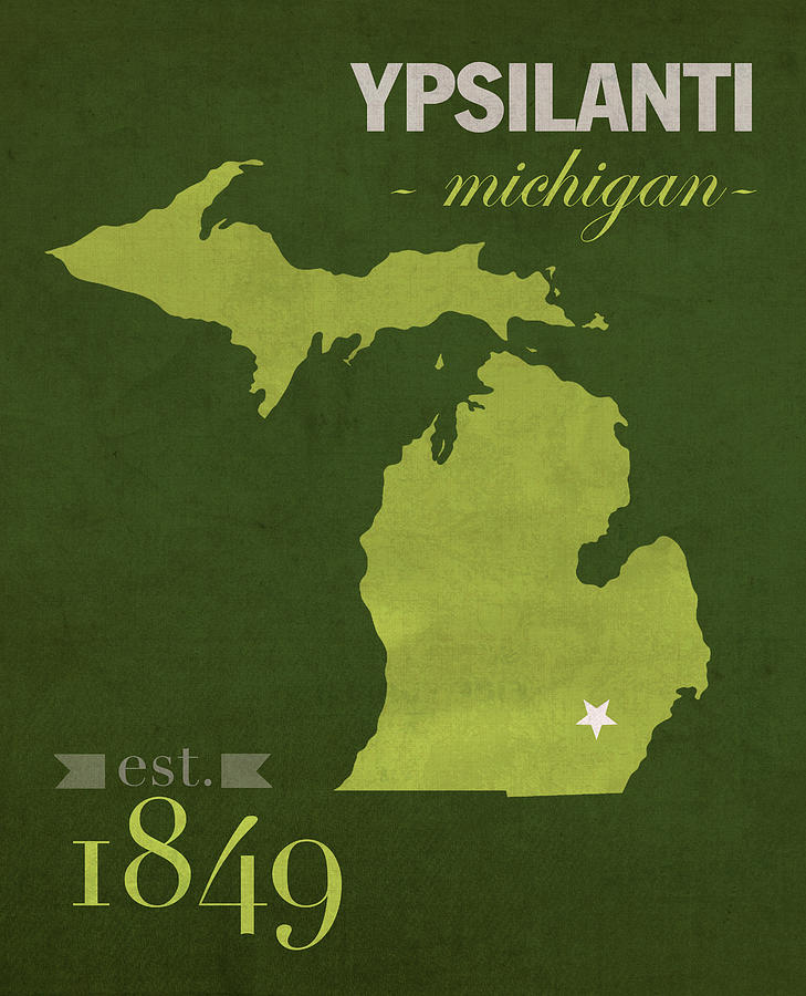Eastern Michigan University Eagles Ypsilanti College Town State - Us college map poster