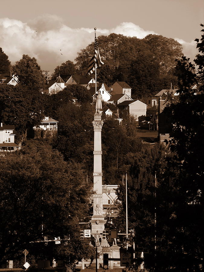 Easton Pa Photograph - Easton Pa - Long View Of Civil War Monument In Sepia by Jacqueline M Lewis