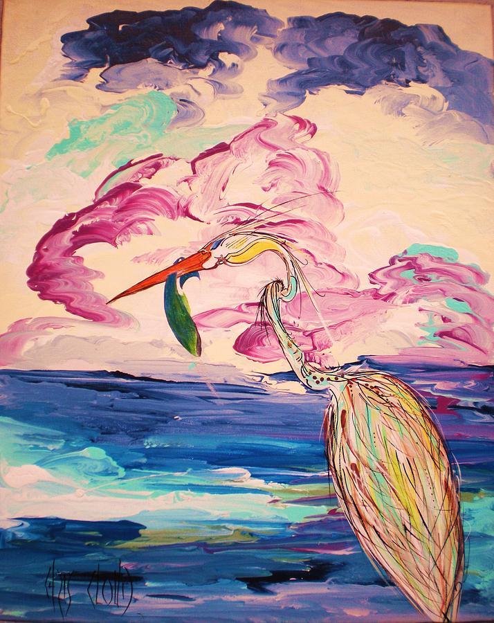 Heron Painting - Easy Dreams by Chris Cloud