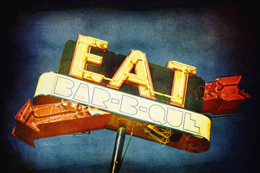 Eat Barbecue Vintage Sign - Textured Photo Art