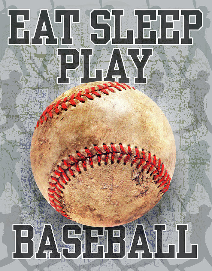 Sports Painting - Eat Sleep Play Baseball by Jim Baldwin