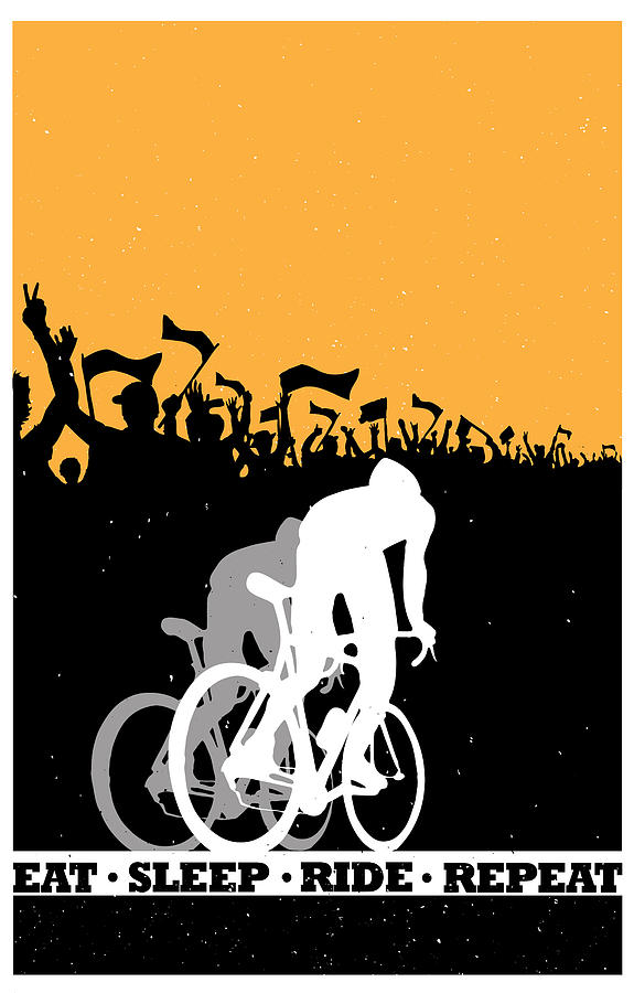Tour De France Painting - Eat Sleep Ride Repeat by Sassan Filsoof