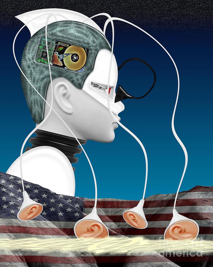Surreal Digital Art - Eavesdropper by Keith Dillon