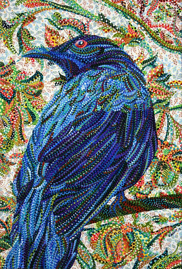 Blue Painting - Eavesdropping by Erika Pochybova