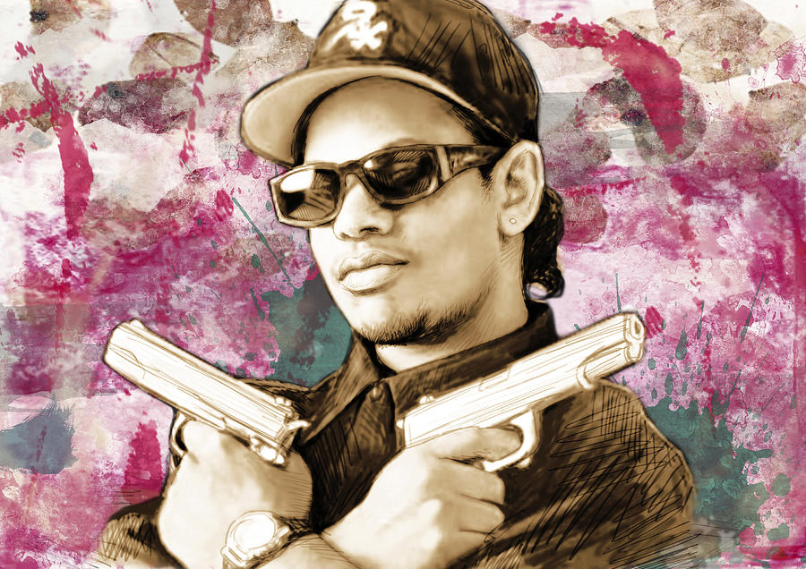 Portraits Drawing - Eazy-E - stylised drawing art poster by Kim Wang