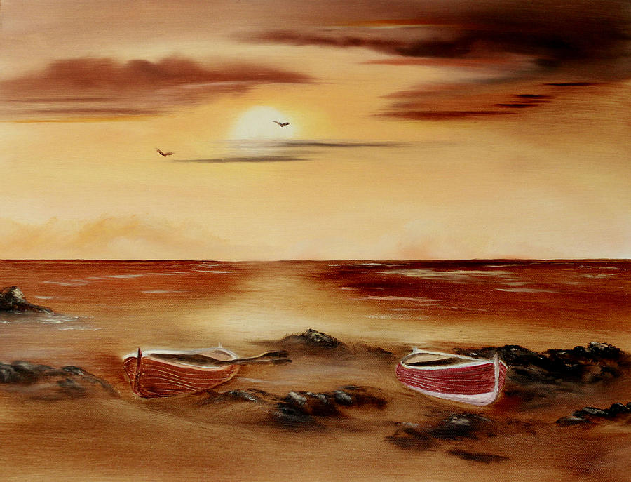 Sepia Painting - Ebb Tide And Stranded by Cynthia Adams