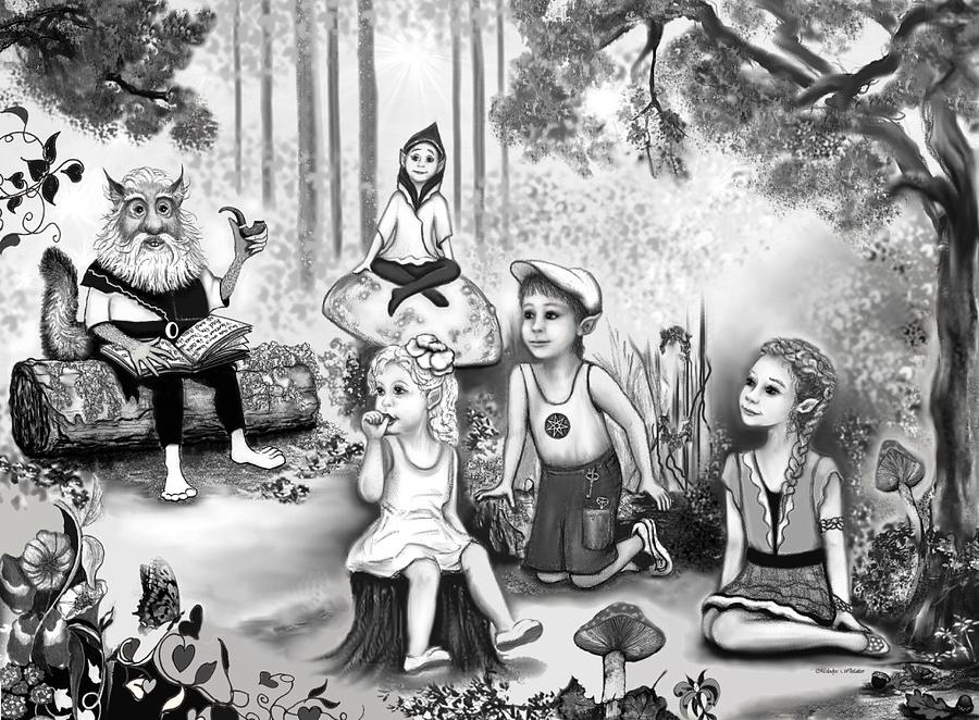 Book Illustration Drawing - Grissum Reads To The Forest Elves by Melodye Whitaker