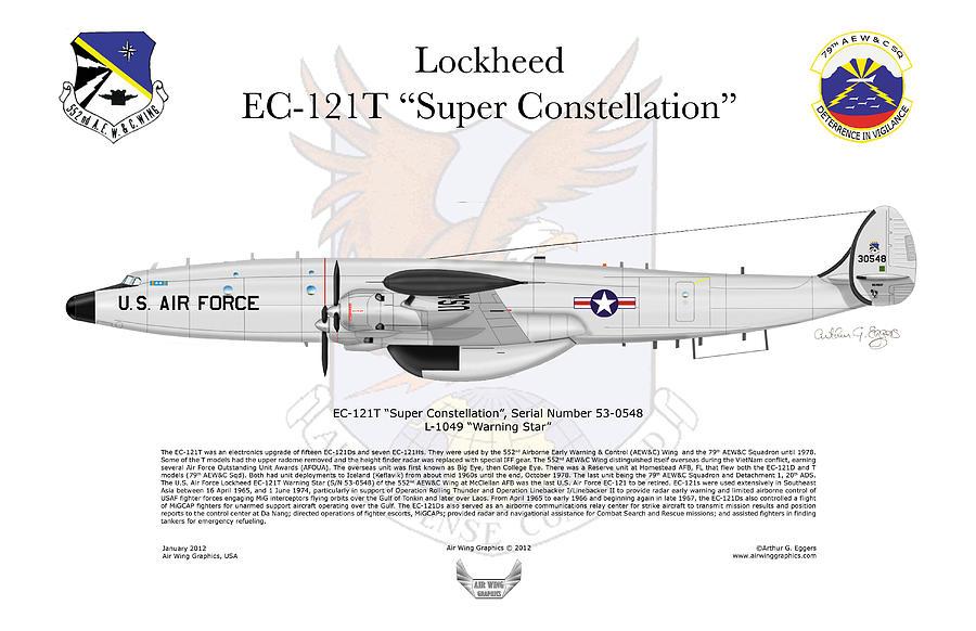 Lockheed Digital Art - Ec-121t Warning Star by Arthur Eggers