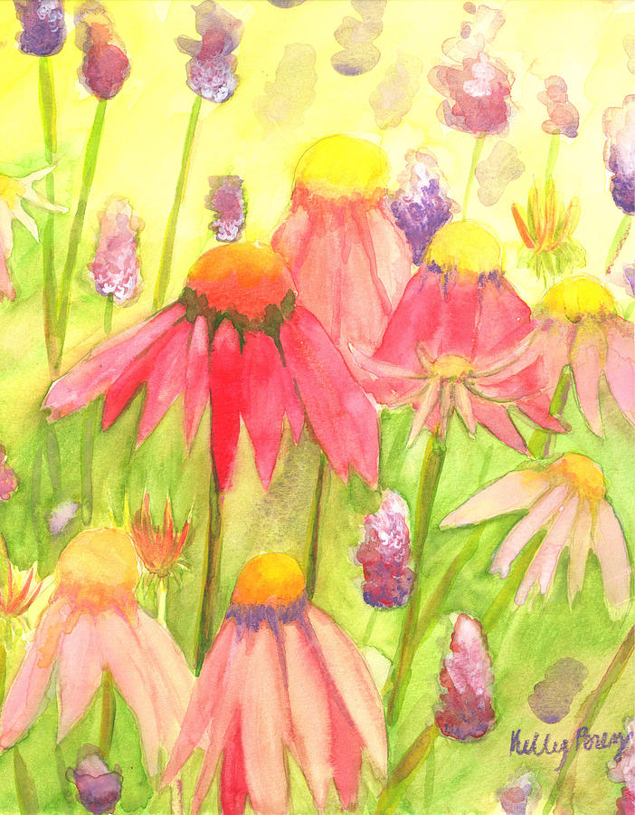 Purple Cone Flower Painting - Echinacea by Kelly Perez