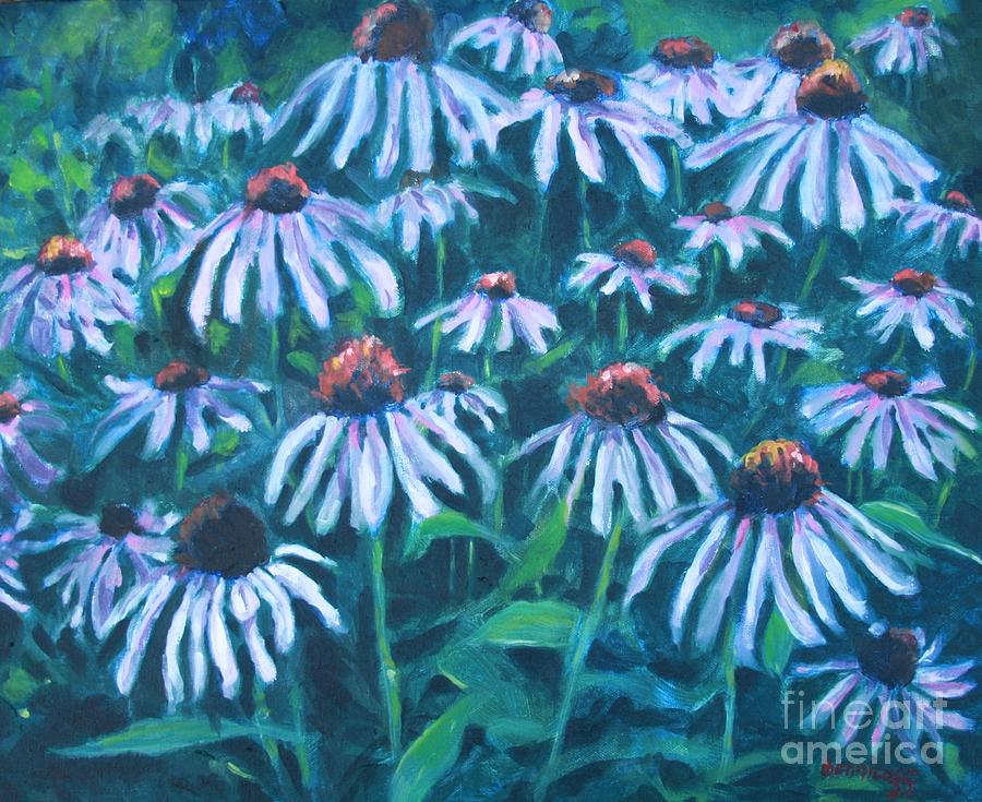 Flowers Painting - Echinacea by Jan Bennicoff