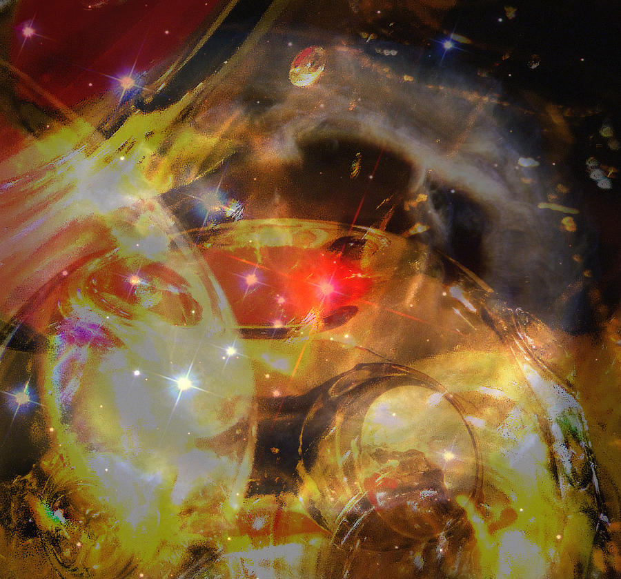 Hubble Digital Photograph Art Glass Reflections Non Representational Abstract Art Reds Yellows Bright Space Shine Judy Paleologos Print  Photograph - Echoes Of The Red Star by Judy Paleologos