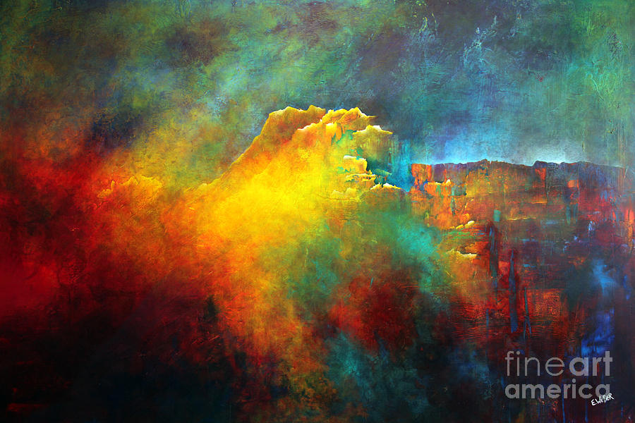 Abstract Painting - Echos Mountain by Elizabeth Weber