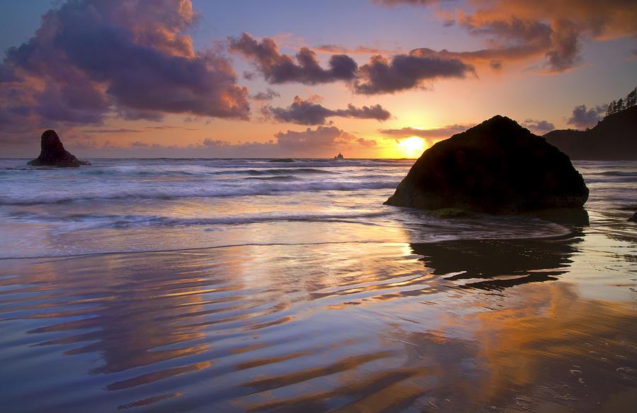 Sunset Photograph - Ecola Sunset by Mike  Dawson