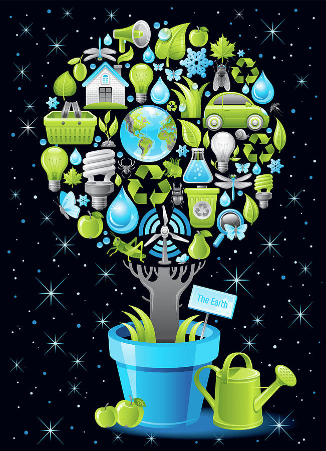 Ecological Poster With Tree In Digital Art by O-che
