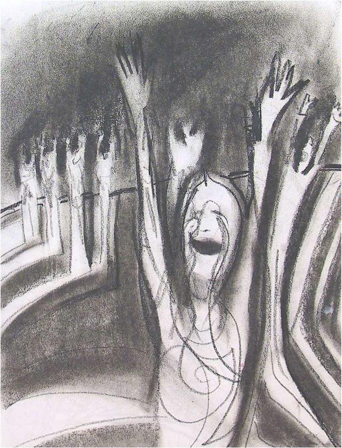 Figurative Drawing - Ecstasy Of Thee Religious Zealots by Dominic Fetherston