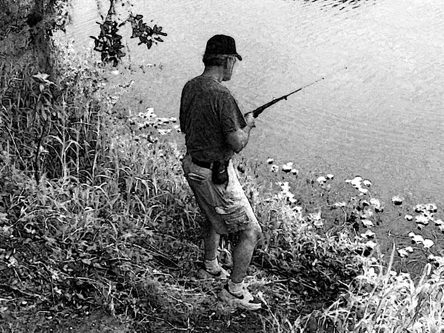 Expressive Photograph - Ed Fishing by Lenore Senior and Sharon Burger