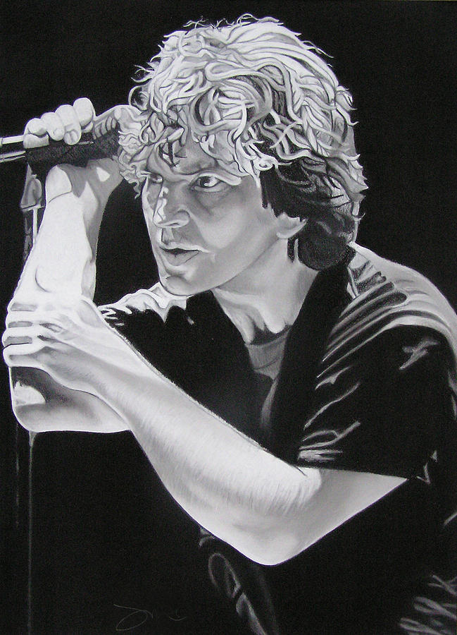 Eddie Vedder Drawing - Eddie Vedder Black And White by Joshua Morton