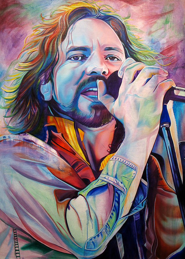 Eddie Vedder In Pink And Blue Painting By Joshua Morton