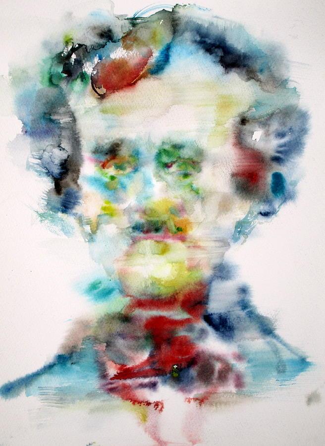 Edgar Allan Poe Painting - Edgar Allan Poe - Watercolor Portrait by Fabrizio Cassetta