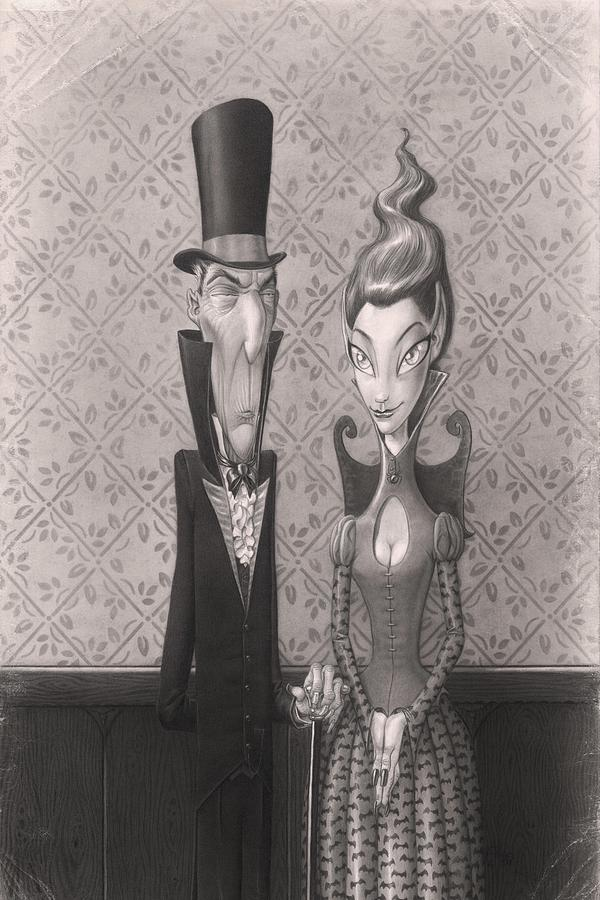 Halloween Drawing - Edgar And Larissa by Richard Moore